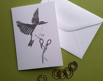 nuthatch absconds with a pair of crane scissors greeting card note card with envelope 4 x 6