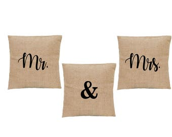 Mr and Mrs Pillows. His and Her Pillow COVERS. Mr & Mrs sign pillow cover set. Newly Wed throw pillows. Newly Wed FAUX Burlap Pillow Cover
