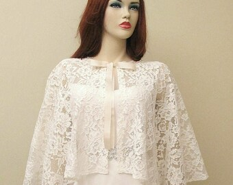 Wedding Cape Lace Bridal Capelet Ivory Cape Guipure