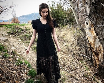 Vintage 90s Black Lace Dress