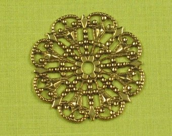 6 Antique Gold Brass Round Filigree Jewelry Findings 328