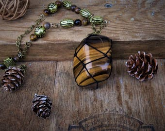 "Necklace macrame ""Sunday"" Tiger eye"
