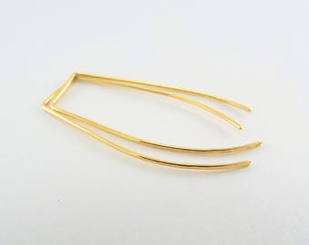 BRASS FLAT Hammered Staple Threader Earrings, 5 Lengths, Minimalist, Modern Earrings, Affordable, Jewelry, Contemporary, Back To School Gift