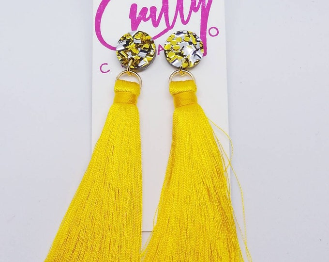 Featured listing image: Gold Foil Stud Yellow Tassel Earring