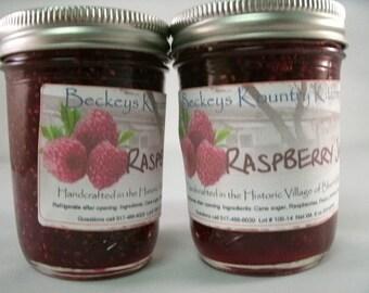 Two jars of Raspberry Jam Homemade jelly fruit spreads handmade fruit preserves