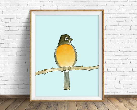 Round Robin - bird, drawing, watercolor, bird print, blue, art print, wall art print, large wall art, robin art print, woodland wall art