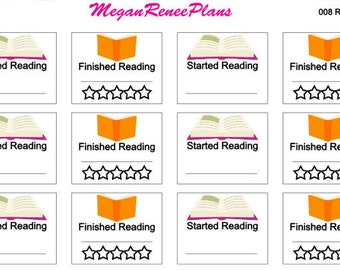 Reading / Started Reading / Finished Reading Matte Planner Stickers for the Erin Condren Life Planner ECLP Happy Planner