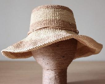 Packable sun hat Floppy beach hat Womens Raffia hat Wide brim sun hat Straw hat Travel hat Adjustable hats Crushable hats