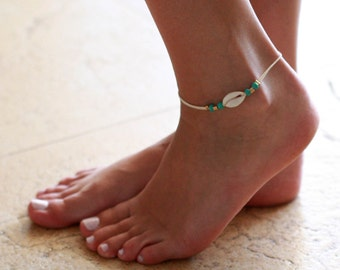 White Anklet - White Ankle Bracelet - Beaded Anklet - Foot Jewelry - Foot Bracelet - Summer Jewelry - Beach Jewelry - Anklets For Women