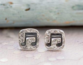 Music Earrings, Music Note Earrings, Music Gifts for Her, Gifts for Musicians, Music Note Stud Earrings, Muscial Note Earrings, Silver Studs