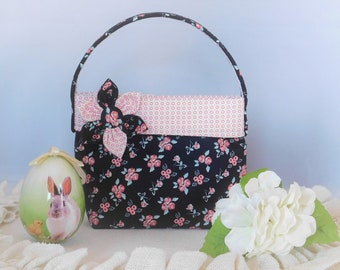 Little Girls' Black And Pink Floral Purse With Detachable Fabric Flower Pin