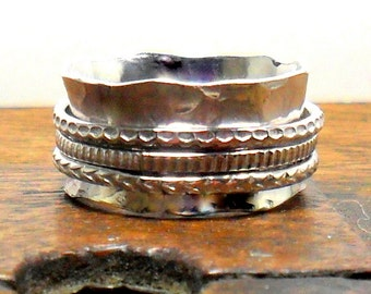 Silver Hammered Spinner Ring UK/AUS Sizing Meditation Ring Worry Ring Wide Band Spinner Ring
