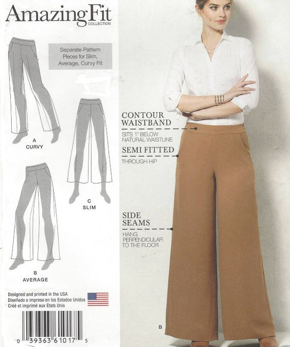Amazing Fit Womens Wide Leg Pants Contour Waistband Slim Average or ...