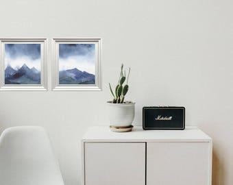 Mountains, Printable Painting, Wall Art, Set of 2