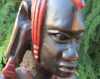 African Carved Man Ebony Wood With Red Accents