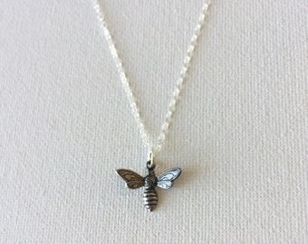 Bumblebee Necklace, Silver Bee Necklace, Silver Bumble Bee Necklace, Honey Bee Necklace, Bee Charm Necklace
