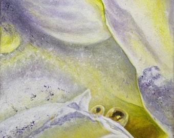 """Framed Painting """"Golden Awakening"""" 12""""x12"""""""