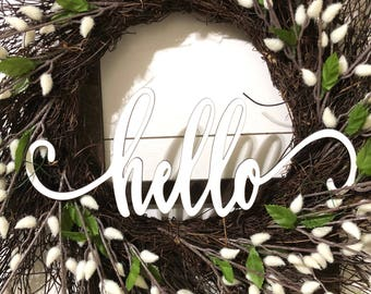 Mini Swirly Hello Wood Word Cutout Wreath Decor, Hello Sign, White Hello Laser Cutout