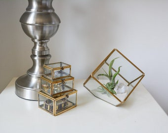 Golden Cube Air Plant Terrarium Kit with Crystal Quartz