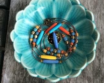 Long colourful necklace, Long women necklace,Multi coloured long necklace, Bohemian necklace, Hippie necklace, Fashion necklace, Retro tones