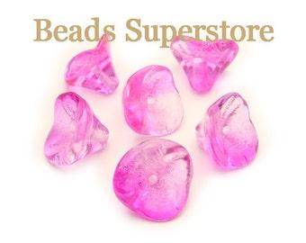10 mm x 12 mm Czech Glass Two Tone Magenta Crystal Flower Bead - 12 pcs