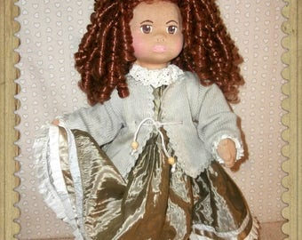 Handmade Cloth Doll, Swiss Glorex Style,  Hand-Sewn Swiss Doll, hand made outfit, Ooak Cloth Doll