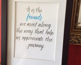 Handwritten quote about friends