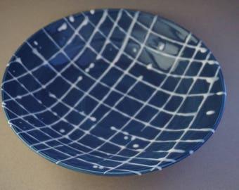 Salad bowl Fruit bowl Blue and white bowl Handmade pottery