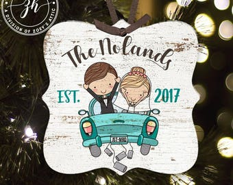 First Christmas just married vintage car metal ornament - great Christmas gift for newlywed couple MPO-004