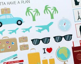Planner Stickers Traveling Collection for Erin Condren, Happy Planner, Filofax, Scrapbooking