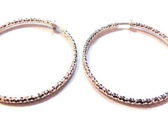 Clip-on Earrings Textured Earrings Plated Silver Tone Hypo-Allergenic Hoop Earrings 2 Inch Hoops