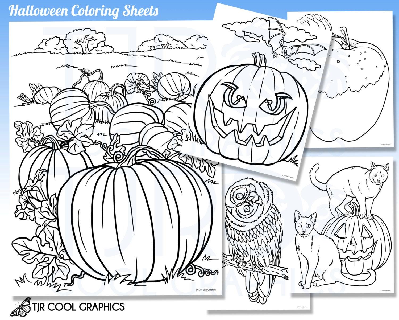 Hojas para colorear de Halloween los niños Digital realista