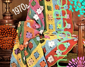 EASY Afghan Crochet PATTERN • Vintage 70s • Afghan Galaxy of Flowers Crochet Pattern • Boho Home Decor • Instant Download • PDF Pattern