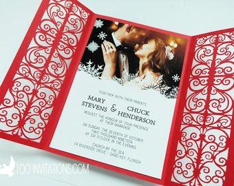 Winter Wedding Invitation, Photo Wedding Invitations,Laser Cut Invites,Gate Fold Winter Invites,Red Wedding Invitation,Customized Available