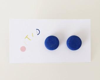 Bright Blue Studs - handmade polymer clay studs