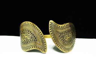 Reserve for Sender: Suz Hatch Mod Paisley Brass Cuff - Eastern Indian Vintage Bracelet - 1970's Paisley Leaves