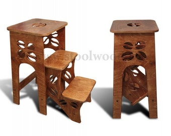 Step Stool Chair - Chair Ladder - Step Ladder - Foot Stool - Wood Step Stool - Kitchen Step Stool