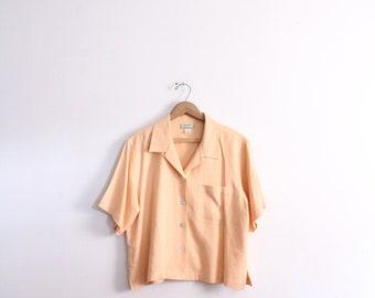Creamy Orange Silk 90s Blouse