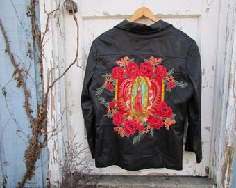 Virgen de Guadalupe Black Leather Jacket// Religious Icon//XL// emmevielle