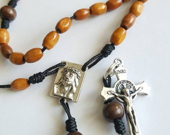 Wood beaded Rosary, Crown of Thorns, Saint Benedict, micro Paracord
