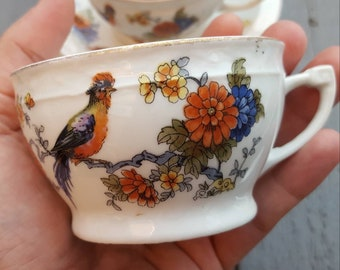 Vintage czechoslovakia Wehinger 4 cups and saucers floral with bird porcelain