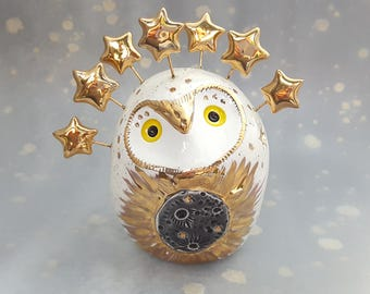 White Owl Ceramic Sculpture with Gold Stars and Eclipse