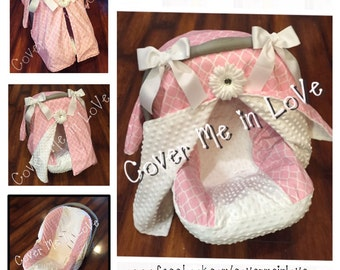 Pink And White Lattice Minky Car Seat Canopy Cover Set