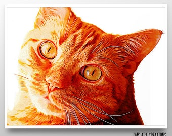 cat art // pet portrait // oil painting // orange art  // gift for pet lover  // home decor art // - Orange Tabby Cat Art