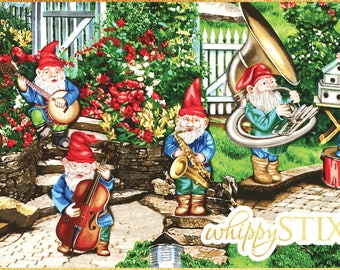 RARE! Gnome Fabric By the Yard, Musical Gnomes by Michael Miller Fabrics DC4214, BTY Whimsical Garden Jazz Band Cotton Material Hard to Find