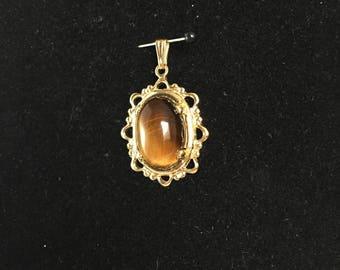 Vintage, Tiger Eye Stone, Pendant. Gold Tone/Oval
