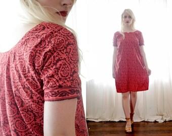 Vintage salmon pink red burgundy short sleeve Indian tunic kurta dress boho ethnic