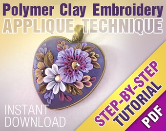 Floral PENDANT Pdf Step-by-Step Photo Tutorial. Polymer clay filigree applique embroidery instruction. Instant download digital file. Lesson
