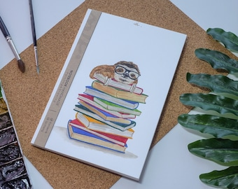 Paresseux aquarelle carnet de notes à la main, couverture rigide journal, Illustration, carnet, carnet de croquis, journal intime, cadeau, 21 × 14.8