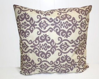 Decorative 18x18 Waverly Lilac and Cream Damask Pillow Cover